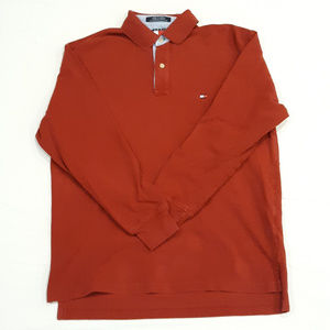 Vintage Long sleeve Tommy Hilfiger red polo shirt